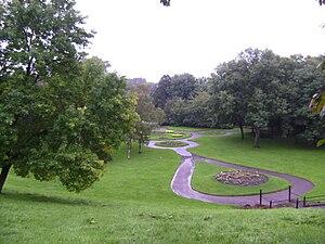 Peel Park, Salford - Looking down on Peel Park, from behind Salford Museum and Art Gallery