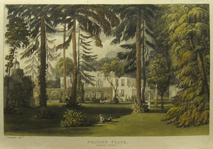 Purleigh - Pelling Place, Old Windsor, garden front, in 1820. Seat of Bonnell family. Aquatint after John Grendall