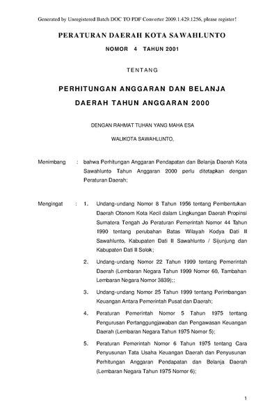 Fileperda Kota Sawahlunto Nomor  Tentang Perhitungan Apbd Ta  Pdf