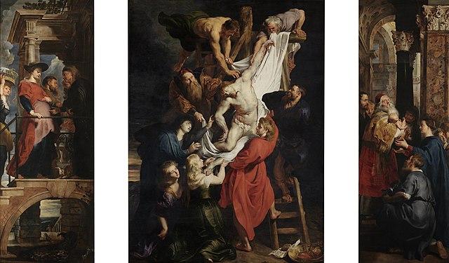 Снятие с креста. 1612, масло по дереву, 420 × 310 см. Собор Антверпенской Богоматери