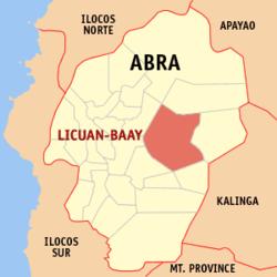 Mapa ng Abra na ipinapakita ang lokasyon ng Licuan-Baay.