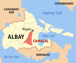 Map of Albay with Camalig highlighted