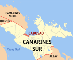 Map of Camarines Sur showing the location of Cabusao