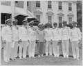 Photograph of President Truman posing on the White House lawn with officers from eight U.S. Navy aircraft carriers... - NARA - 199399.tif