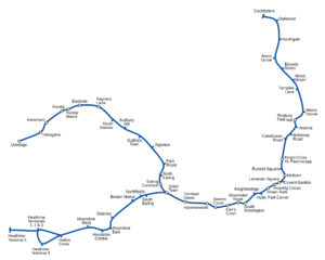 Straight-line diagram - This is a more accurately rendered map of the Piccadilly Line, showing curvature and the relative distance between stops. It illustrates why straight-line maps are more useful when only the sequence of stops is relevant.