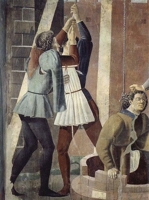Piero della Francesca, Le Storie della Vera Croce, Tortura dell'ebreo (particolare, due operai tirano fuori Giuda dal pozzo tramite funi legate a un argano con carrucola), Basilica di San Francesco, Arezzo
