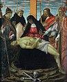 Pietà con san Ludovico di Tolosa, san Domenico, san Giacomo Maggiore e san Nicola di Bari - Botticini.jpg