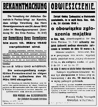 Piotrków Trybunalski Ghetto - Ghetto announcement, 24 January 1940 at Piotrków Trybunalski