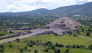 Teotihuacan - View of the Pyramid of the Moon from the Pyramid of the Sun
