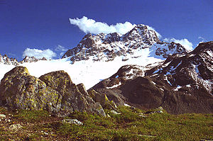 Piz Kesch - The peak rising above the Porchabella Glacier