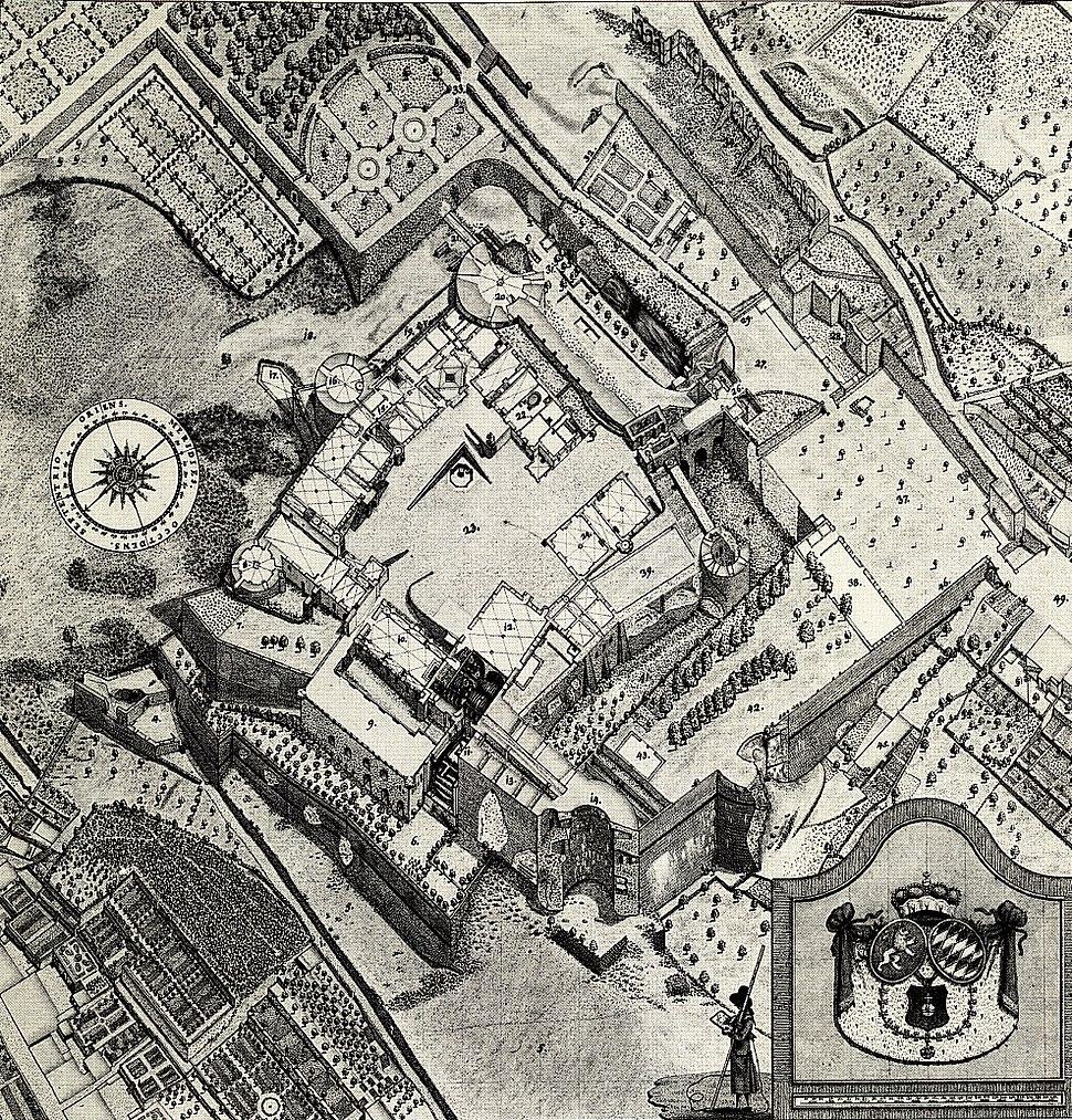 Plan des Heidelberger Schlosses von Peter Friedrich von Walpergen um 1780