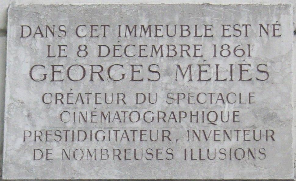 Plaque Georges Méliès, 29 boulevard Saint-Martin, Paris 3