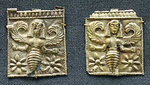 Arthropods in culture - Gold plaques embossed with winged bee goddesses, perhaps the Thriai, found at Camiros Rhodes, dated to the 7th century B.C.