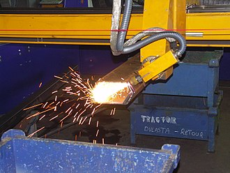 Plasma cutting - Plasma cutting with a tilting head
