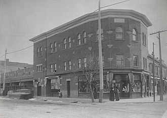 Playter Estates - Playter Hall on the northeast corner of Broadview and Danforth Avenue, c. 1912. The area was historically occupied by Greeks.