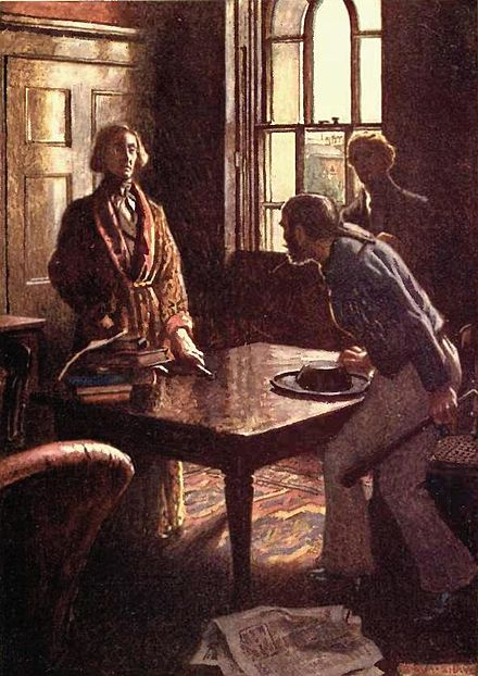 "The moment Dupin questions the sailor about the murders. Illustration by Byam Shaw for a London edition dated 1909 with caption ""The sailor's face flushed up; he started to his feet and grasped his cudgel"". Poe rue morgue byam shaw.JPG"
