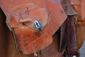 "Pony Express mochila - Pony Express ""mochila"" closeup. Each of the riders signed the bag as it moved through the states."