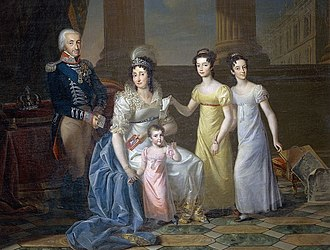 Maria Theresa of Austria-Este, Queen of Sardinia - Maria Theresa with her husband and their daughters Maria Anna, Maria Teresa and Maria Cristina.