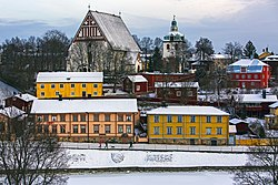 A view of buildings in the Porvoo Old Town, including the Porvoo Cathedral