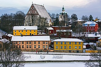 Porvoo - A view of buildings in the Porvoo Old Town, including the Porvoo Cathedral
