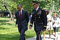 President Barack H. Obama, left, and U.S. Army Maj. Gen. Michael S. Linnington, the commander of the Military District of Washington, walk at Arlington National Cemetery in Arlington, Va., May 27, 2013 130527-A-VS818-080.jpg