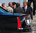 President Barack Obama is greeted by U.S. Army Maj. Gen. Dana J.H. Pittard, left, commanding general of Fort Bliss, Texas, after arriving at the base Aug. 31, 2010 100831-A-RD562-397.jpg