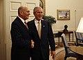 President George W. Bush welcomes Prime Minister Ehud Olmert of Israel.jpg
