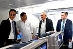 President Rodrigo Roa Duterte chats with Quezon City Fourth District Representative Feliciano Belmonte Jr. while on board Philippine Airlines chartered flight PR001 bound for New Delhi.jpg