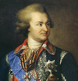 Russo-Prussian alliance - Detail of an 1847 portrait of Grigory Potemkin, who advocated closer ties between Russia and Austria