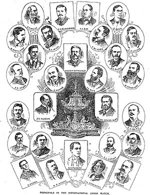 Anglo-American cable chess matches - Principals in the 1896 international chess cable match along with the $800 Sir George Newnes Cup