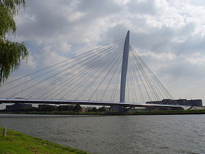 Cable-stayed bridge - Prins Clausbrug across the Amsterdam-Rhine Canal in Utrecht