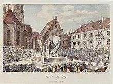 Schillerfest in Stuttgart am 8. Mai 1839 anlässlich der Enthüllung des Schillerdenkmals auf dem Schillerplatz in Stuttgart (Quelle: Wikimedia)