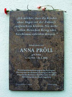 Photo of Anna Pröll stone plaque