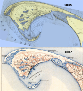 Comparison of two official maps of Provincetown, one dated 1835, and the other, 1889.