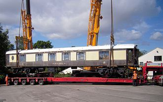 Brighton Belle - Pullman First Class Car 'Hazel' had been continuously used as a restaurant attached to the 'Black Bull' at Moulton, Yorks, since 1972. It took two enormous mobile cranes to perform the delicate removal operation on 10 August 2012.