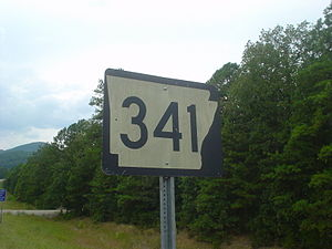 Arkansas Highway 341 - Highway 341 sign in front of a background of steep terrain along Push Mountain Road
