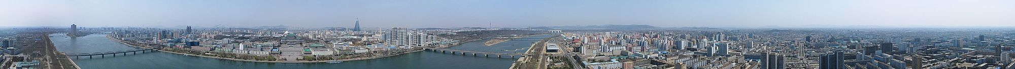 A panoramic view of Pyongyang from atop the Juche tower