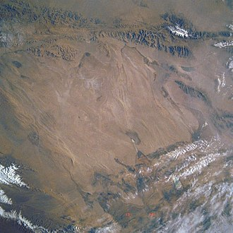 Qaidam Basin - Qaidam Basin - NASA satellite view, with east at the top.
