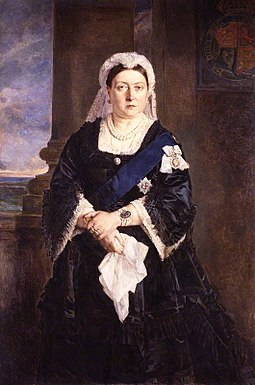 "Victoria admired Heinrich von Angeli's 1875 portrait of her for its ""honesty, total want of flattery, and appreciation of character"". Queen Victoria by Julia Abercromby.jpg"