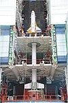 RLV-TD HEX01, Integration tests with Technology Development Vehicle (TDV) mock up at First Launch Pad of Satish Dhawan Space Centre, Sriharikota (SDSC SHAR).jpg