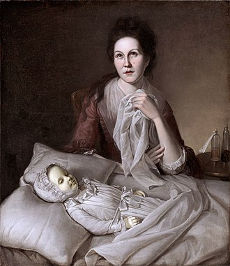 Charles Willson Peale - Rachel, his first wife, weeping over their daughter Margeret, who died of smallpox (Charles Willson Peale, 1772–1776)