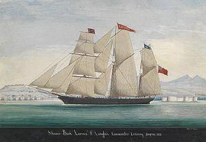 Raffaelo Corsini Schooner Bark Lavinia entering Smyrna 1856.jpg