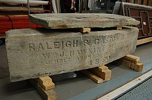 Raleigh and Gaston Railroad - Cornerstone of the Raleigh and Gaston railroad building of Raleigh, NC