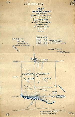 Encino, Los Angeles - Rancho Encino plat map of 1873