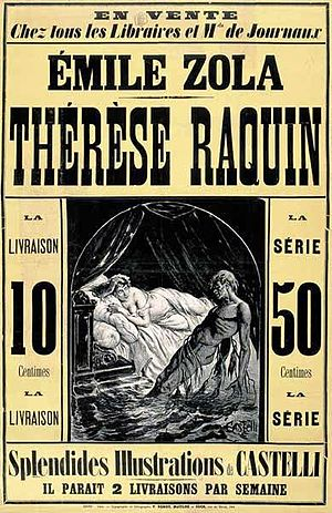 Publicité pour Thérèse Raquin - ca 1877