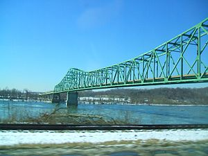 U.S. Route 33 in West Virginia - US 33 crossing the Ohio River on the Ravenswood Bridge, viewed from Ravenswood, with the Ohio bank of the river in the distance