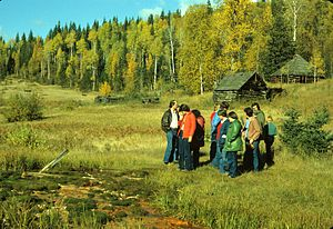 Clearwater River (British Columbia) - Ray Farm in 1971. Mineral Springs in front.