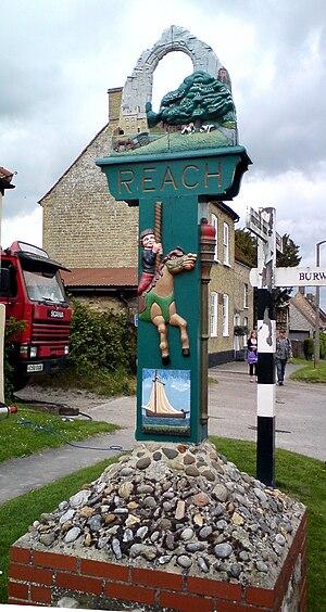 Reach, Cambridgeshire - Image: Reach village sign west face