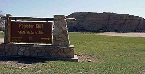 Guernsey, Wyoming - State Marker and Register Cliff