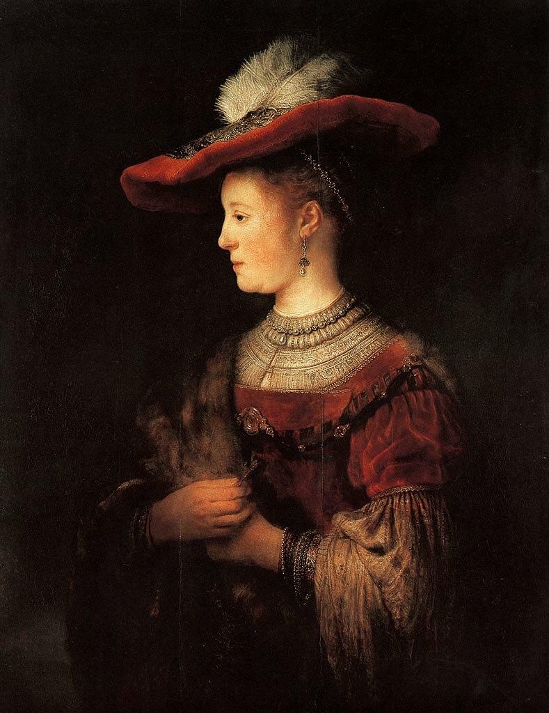 Rembrandt, Portrait of Saskia van Uylenburgh (1612–1642), circa 1633–1634, Gemäldegalerie Alte Meister, Kassel